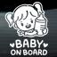 สติกเกอร์ Baby on Board งานเกาหลี สีขาว thumbnail 1