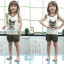 ชุดเสื้อแขนกุดมีระบาย+กางเกงขาสั้นเด็ก ลายแมวน้อยสีดำ size 90 110 120 130 thumbnail 1