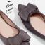 รองเท้าส้นแบนไซส์ใหญ่ 42 Faux Suede Layered-bow สีเทา รุ่น KR0593 thumbnail 4