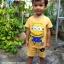 ชุดเด็กมินเนี่ยน เสื้อยืด+กางเกงขาสั้นเอวยางยืด สำหรับเด็กวัย 2-8 ปี thumbnail 1