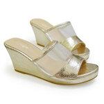 [พร้อมส่ง] ไซส์ 36-46 รองเท้าแตะส้นเตารีด มีไซส์ใหญ่ สีทองแชมเปญ สูง 2.7 นิ้ว - CH0127