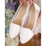 [พร้อมส่ง] ไซส์ 41 42 รองเท้าคัชชูส้นแบน ไซส์ใหญ่ สีขาว ฉลุตาข่ายด้านข้าง