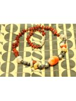 SALES!!! ANTIQUE CHINESE STONE NECKLACE - สร้อยหินสี ร้อยประดับสลับกับเงิน งาน HAND MADE
