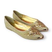 [พร้อมส่ง] ไซส์ 42 43 45 รองเท้าส้นแบน สีทอง MERNA ZARA แบรนด์แท้ KR0293