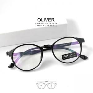OLIVER - black แว่น TR90 ทรงหยดน้ำ กว้าง 133 มม. (size S)