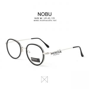 NOBU - black silver กรอบแว่นกลม ขาโลหะ กว้าง 135 มม.(size M)