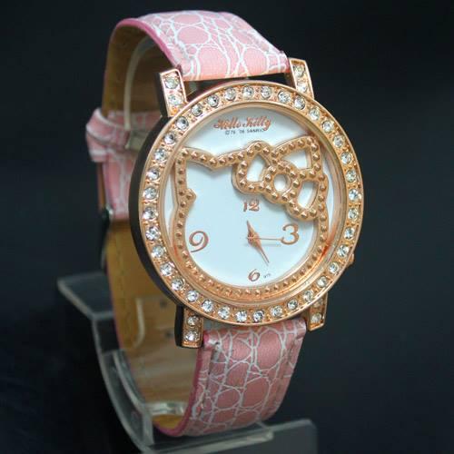 นาฬิกาข้อมือ Hello Kitty สายหนัง ล้อมเพชร