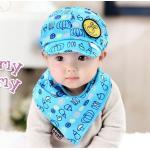 หมวก+ผ้ากันเปื้อนเด็ก สีฟ้า