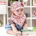 หมวก+ผ้ากันเปื้อนเด็ก สีชมพู