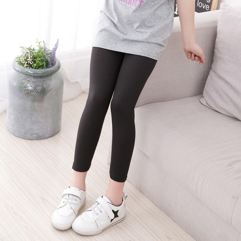 กางเกงเลคกิ้งเด็กหญิง สีดำ ผ้าเบา ใส่สบาย (มีขนาดเด็กสูง 90-130 ซม.)