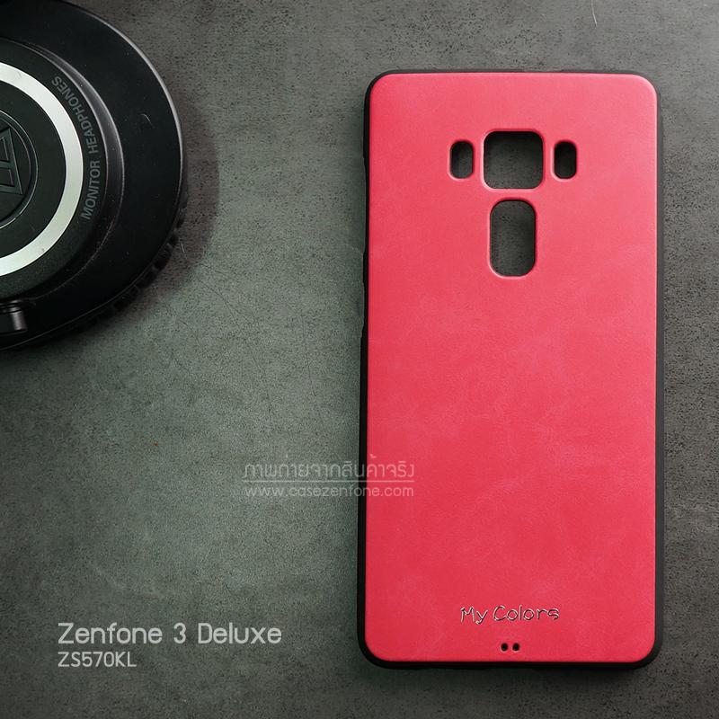 เคส Zenfone 3 Deluxe (ZS570KL) เคสนิ่ม คุณภาพ พรีเมียม ลายหนัง สีแดงชมพู (Classic)