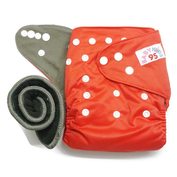 กางเกงผ้าอ้อมชาโคลขอบปกป้อง-สีพื้น แถมแผ่นซับชาโคล5ชั้น -Red
