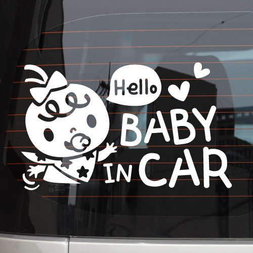 สติกเกอร์ Baby in Car งานเกาหลี รูปเด็กหญิงทักทาย Hello สีขาว