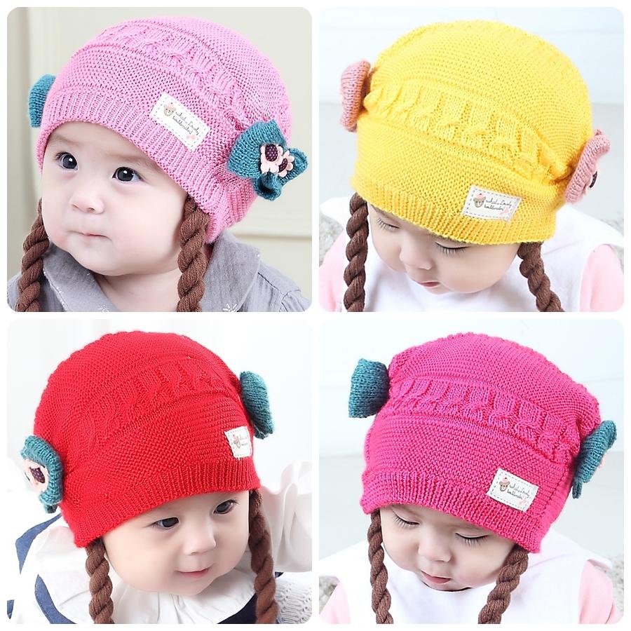 หมวกเด็กอ่อนไหมพรม Tianyi Bear ดีไซน์เปียทวิตไหมสองข้างน่ารักโดดเด่น