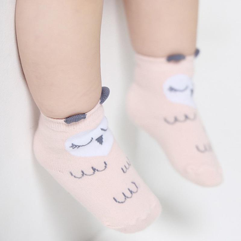 ถุงเท้าเด็กเล็ก ลายนกฮูกสีชมพู มีหูเล็กๆ ตรงขอบยางยืด สำหรับเด็ก 0-2/2-4 ปี
