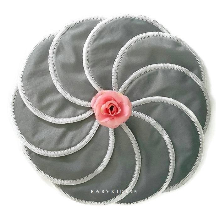 แผ่นซับน้ำนม กันน้ำ ซักได้ 10 ชิ้น (Gray)