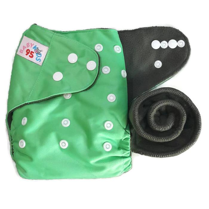 กางเกงผ้าอ้อมชาโคลขอบปกป้อง-สีพื้น แถมแผ่นซับชาโคล5ชั้น -เขียวชานม