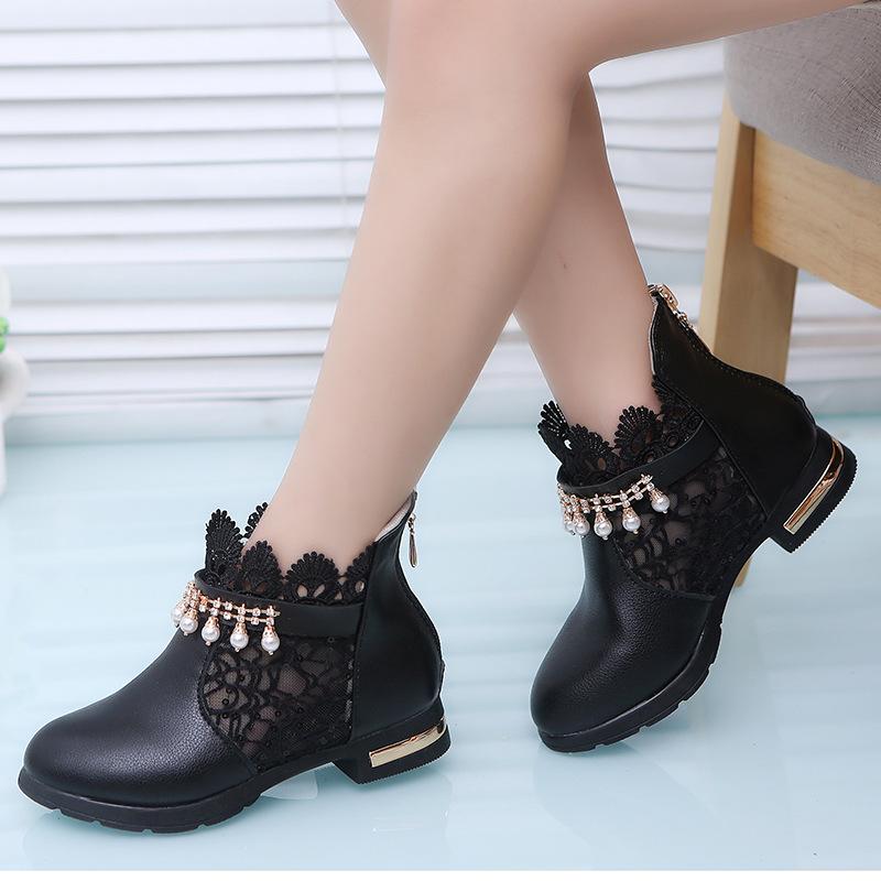 รองเท้าบู๊ทสั้นเด็กหญิง สีดำ มีซิปหลัง Size 27-37