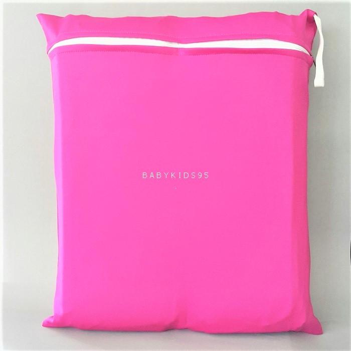 ถุงผ้ากันน้ำ 1 ช่อง Size: L (หูยางยืด) i4 -สีพื้น ชมพูเข้ม