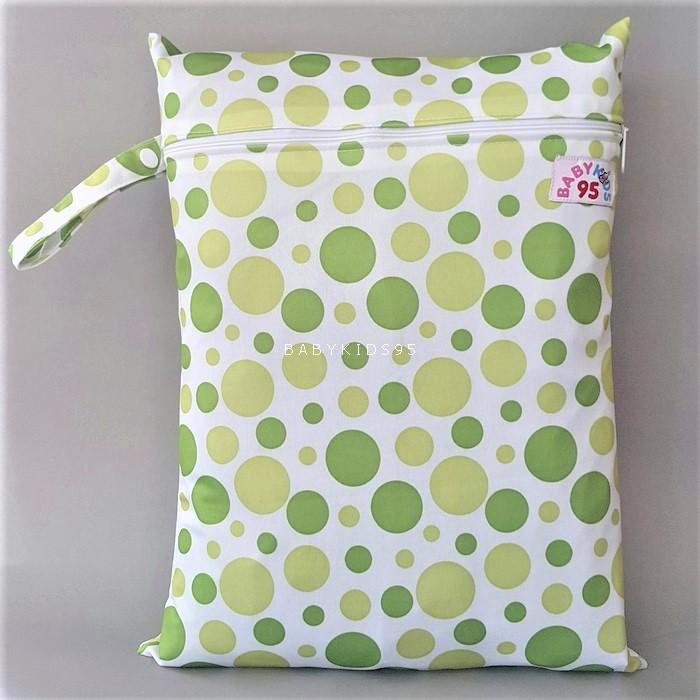 ถุงผ้ากันน้ำ 1 ช่อง Size: L (หูจับกระดุม) i2 -Green Dots