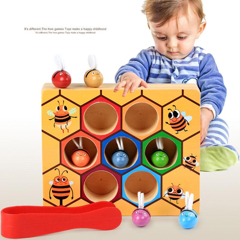 ของเล่นไม้ รังผึ้งสอนจับคู่สี การนับจำนวน ฝึกการคีบ