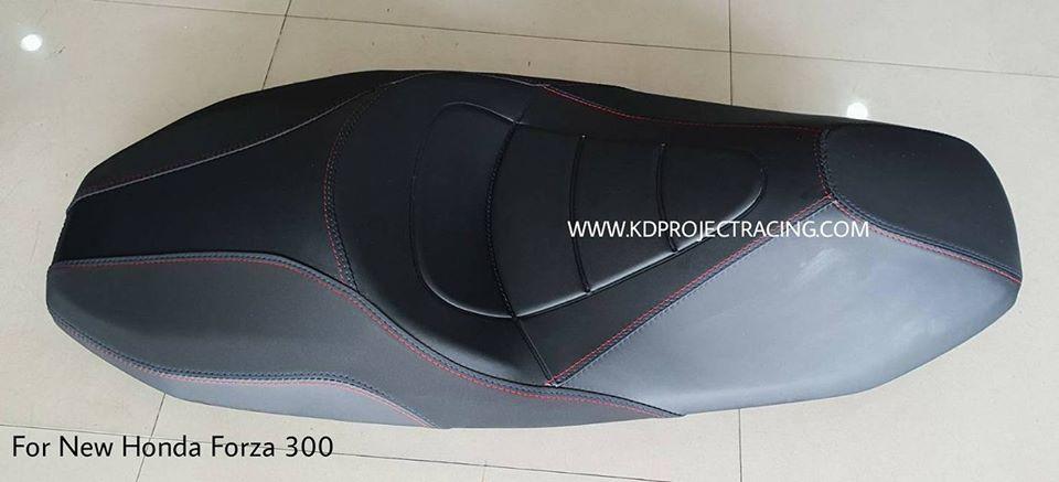 เบาะแต่ง New Honda Forza300 ทรง VIP ด้ายน้ำเงิน แดง