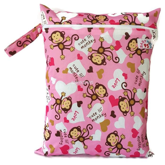 ถุงผ้ากันน้ำ 1 ช่อง Size: L (หูจับกระดุม) i2 -Pink Monky