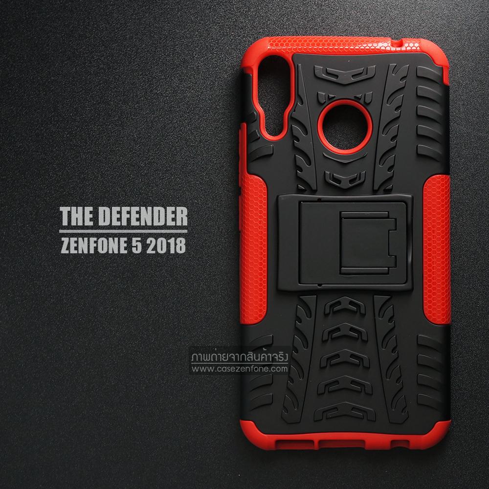 เคส Zenfone 5 ( ZE620KL ) กรอบบั๊มเปอร์ กันกระแทก Defender สีแดง (เป็นขาตั้งได้)