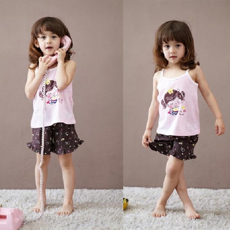 ชุดเสื้อสายเดี่ยว+กางเกงขาสั้นเด็ก ลายเด็กหญิง size 100 110 120