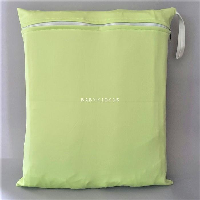 ถุงผ้ากันน้ำ 1 ช่อง Size: L (หูยางยืด) i4 -สีพื้น เขียวอ่อน