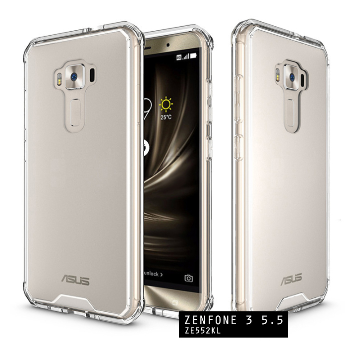เคส Zenfone 3 ( ZE552KL ) 5.5 นิ้ว เคส Hybrid ฝาหลังอะคริลิคใส ขอบยางกันกระแทก สีใส