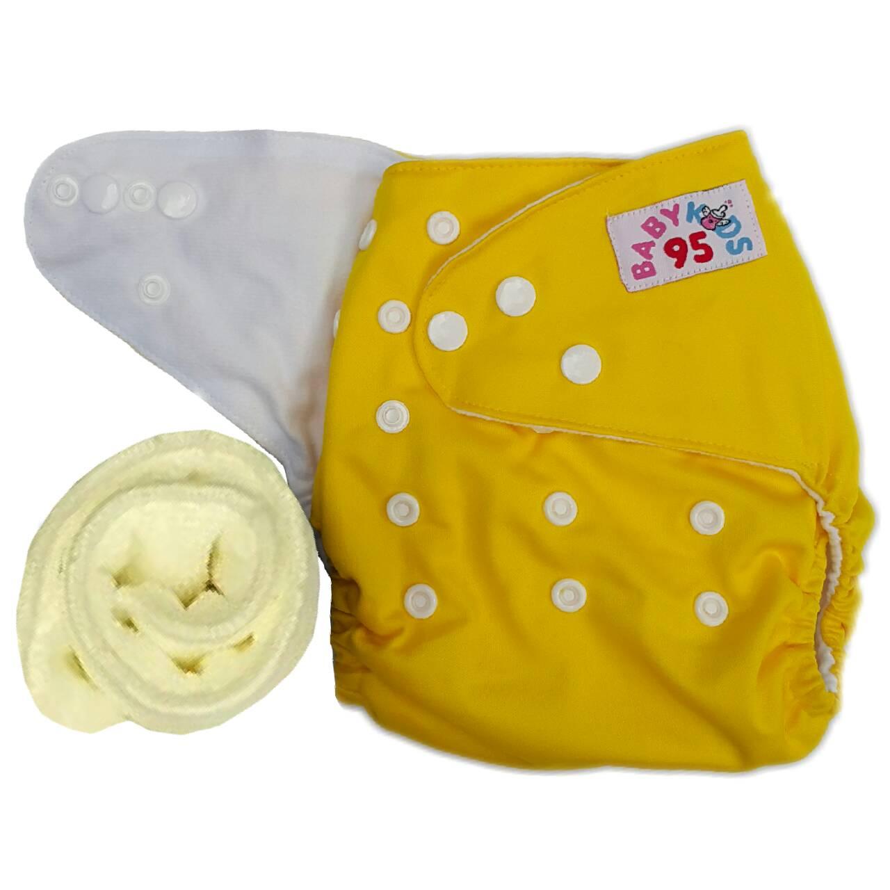 กางเกงผ้าอ้อมกันน้ำ+แผ่นซับไมโครฯหนา3ชั้น Size 3-16 kg. -Yellow