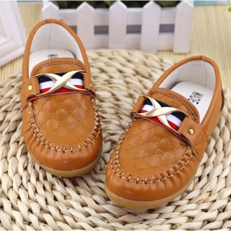 รองเท้าคัทชูเด็กหนัง PU สีน้ำตาล ประดับโลหะและริบบิ้นฝรั่งเศส Size 21-30