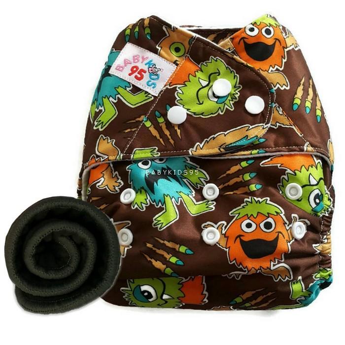 กางเกงผ้าอ้อม PUL +แผ่นซับชาโคล Monster Brown