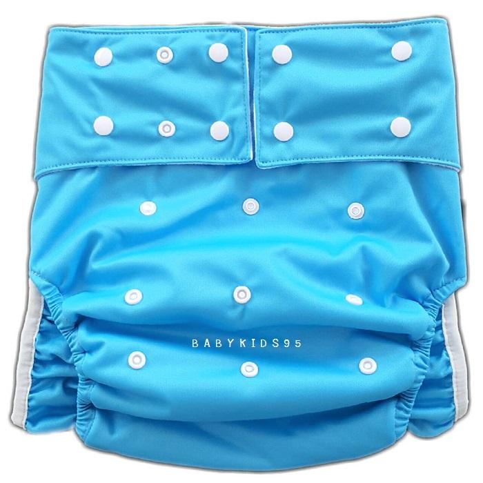 ผ้าอ้อมผู้ใหญ่ ซักได้ รอบเอว23-38นิ้ว +แผ่นซับสีขาว1แผ่น-Blue
