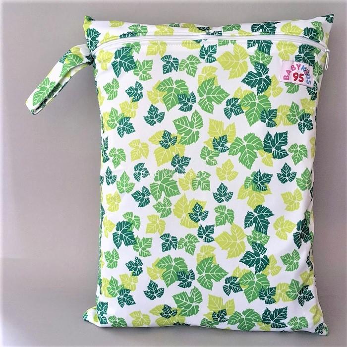 ถุงผ้ากันน้ำ 1 ช่อง Size: L (หูจับกระดุม) i2 -Leaves