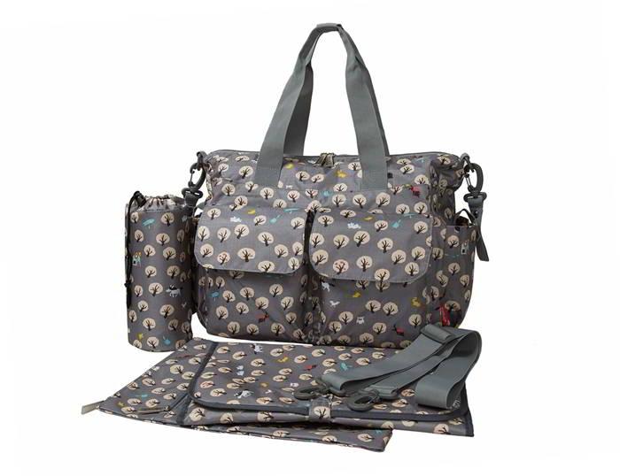 Ecosusi กระเป๋าสัมภาระคุณแม่ กระเป๋าใส่ผ้าอ้อม แขวนรถเข็นเด็กได้ หิ้ว หรือสะพายไหล่ได้ (Grey Cute Tree)