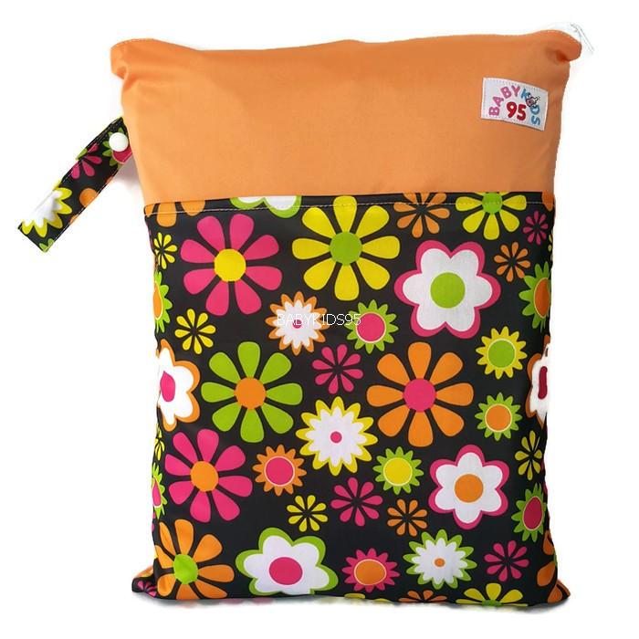 ถุงผ้ากันน้ำ 2 ช่อง Size: L (หูกระดุม) i6 -Flower