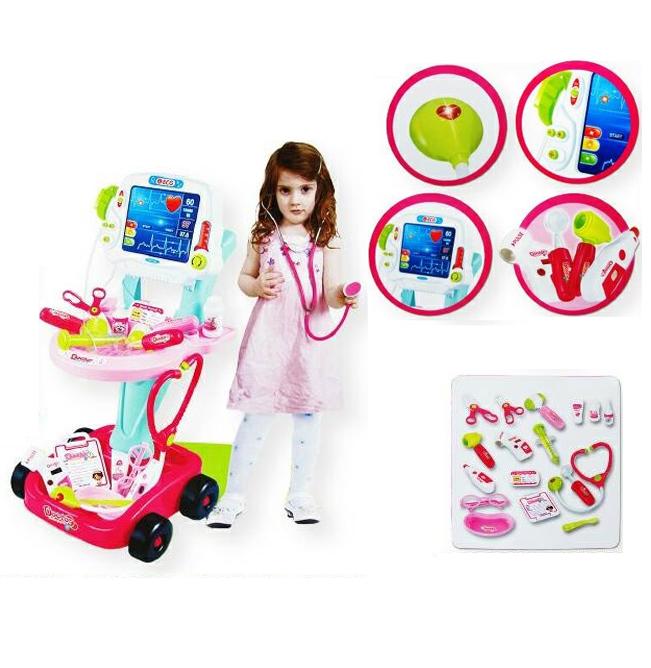 ชุดของเล่นคุณหมอ และอุปกรณ์เครื่องมือ 17 ชิ้น พร้อมเครื่องเอกซเรย์รถเข็น สีชมพู