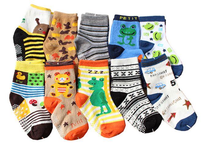 ถุงเท้าเด็กเล็ก ชาย 1-3 ปี มีกันลื่น พิมพ์ลายการ์ตูน แฟชั่นญี่ปุ่น