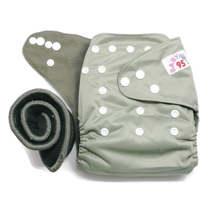 กางเกงผ้าอ้อมชาโคลขอบปกป้อง-สีพื้น แถมแผ่นซับชาโคล5ชั้น -Grey