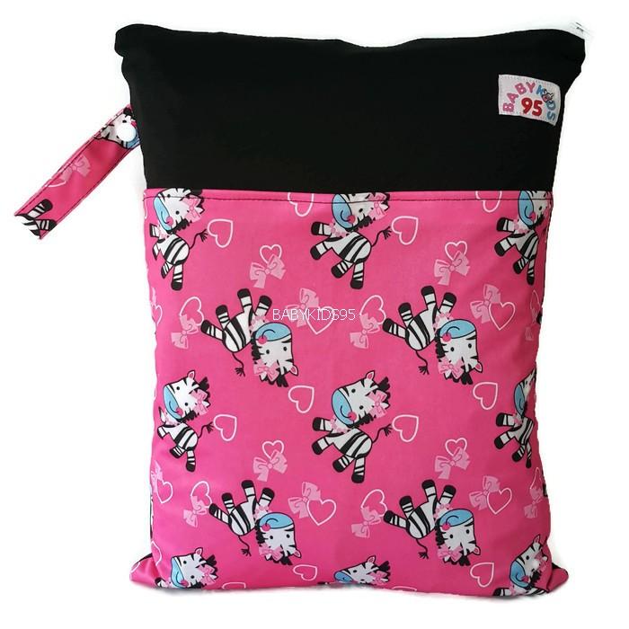 ถุงผ้ากันน้ำ 2 ช่อง Size: L (หูกระดุม) i6 -Pink Zebra
