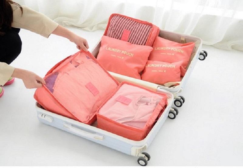 DINIWELL Travel Receive Bag ชุดจัดกระเป๋าเดินทาง 6 ใบ แบ่งใส่เสื้อผ้า กางเกง ชุดชั้นใน กางเกงใน อุปกรณ์ไอที ฯ ผลิตจากวัสดุกันน้ำคุณภาพดี มี 9 สีให้เลือก