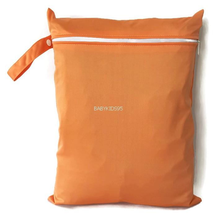 ถุงผ้ากันน้ำ 1 ช่อง Size: L (หูจับกระดุม) i3 -สีพื้น ส้มอ่อน