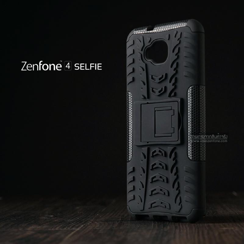 เคส Zenfone 4 Selfie ( ZD553KL ) กรอบบั๊มเปอร์ กันกระแทก Defender สีดำ (เป็นขาตั้งได้)