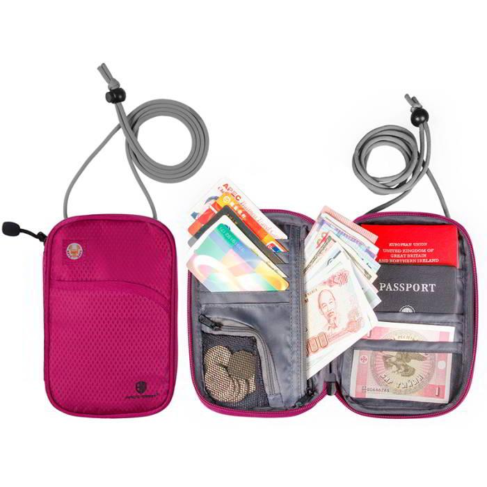 กระเป๋าใส่พาสปอร์ตห้อยคอ คล้องคอได้ กระเป๋าใส่หนังสือเดินทาง ป้องกันการขโมยข้อมูลบัตรเครดิตด้วยคลื่น RFID (Rose Red)