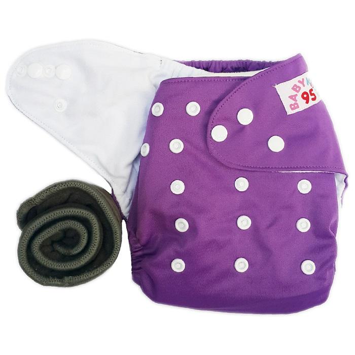 กางเกงผ้าอ้อมกันน้ำ+แผ่นซับชาโคลหนา5ชั้น Size 3-16 kg.-Purple