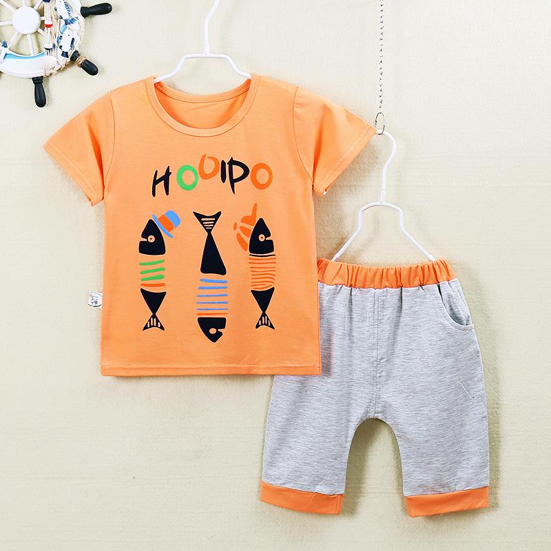 ชุดเด็กเล็ก เสื้อแขนสั้น+กางเกงสามส่วน ผ้านิ่มเด้ง ลายก้างปลา สำหรับวัย 1-4 ขวบ