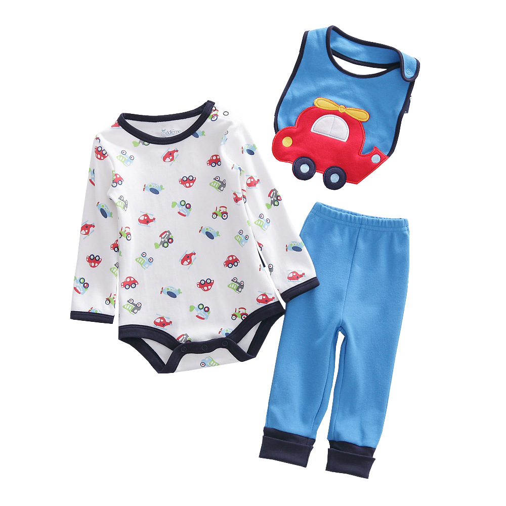 เซตเสื้อผ้าเด็ก Cuddle me บอดี้สูทแขนยาว+กางเกงขายาว+ผ้ากันเปื้อน ลายรถสีแดงฟ้า