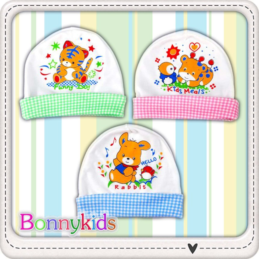 หมวกเด็กแรกเกิด พิมพ์ลายการ์ตูนน่ารัก (ขายแพ็ค 6 ใบ)
